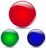 Red, blue, green glass buttons vector Royalty Free Stock Photos