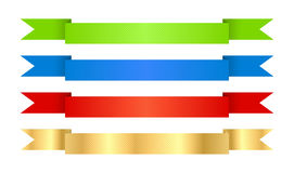 Red blue green and gold vector ribbons with texture Royalty Free Stock Image