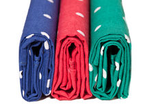 Red, blue and green handkerchiefs Stock Photo