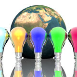 Red, blue and green lightbulbs Royalty Free Stock Images