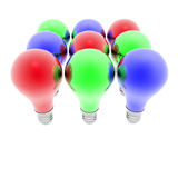 Red, blue and green lightbulbs Royalty Free Stock Photos