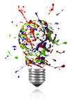 Red blue green paint burst made light bulb Stock Image