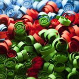 Red, blue and green paper spirals Royalty Free Stock Photos