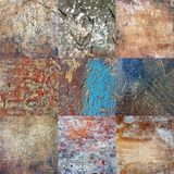 Seamless pattern. Squares of multicolored, cracked plaster. Royalty Free Stock Image