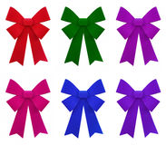 Red, blue, green, pink and purple bow isolated on white backgrou. Nd Stock Image