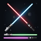Red, blue  green and purple light swords. Vector illustration. Royalty Free Stock Photos