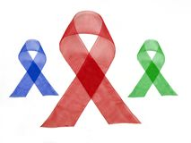 Red Blue Green Ribbon stock images