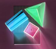 Red, Blue, and Green Shape 3d Digital Wallpaper Stock Photos