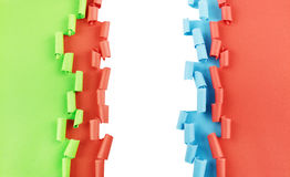Red blue green torn paper background Stock Image