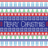 Red , blue, green and white Merry Christmas pattern with decorative elements trees , flowers, Christmas gifts in Scandinavian styl Stock Photo