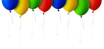 Red, blue, green and yellow balloons border Royalty Free Stock Images