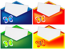 Red, blue, green and yellow envelope with butterfly Royalty Free Stock Images