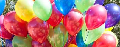 Colorful ballons close up panorama stock photo
