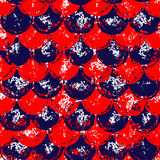 Red and blue grunge scallop geometric seamless pattern, vector. Background Royalty Free Stock Photo
