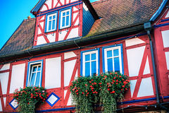 Red and blue half-timbered house in Buedingen, Germany Royalty Free Stock Photo