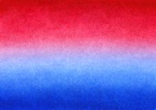 Red and Blue handmade painted watercolor gradient background on textured paper.  royalty free illustration