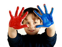 Red and blue hands Stock Photo