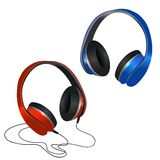 Red and blue headphones Royalty Free Stock Image