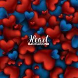 Red and blue heart. Valentines day card. Love romantic 3D Realistic Red Hearts Background. February 14. Vector Illustration. Stock Photography