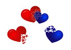 Red and Blue Hearts. Illustration of red and blue hearts, linked together and separate Royalty Free Stock Photo