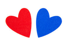 Red and blue hearts. On white background Royalty Free Stock Image