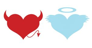 Red and blue hearts. Concept of love Stock Photo