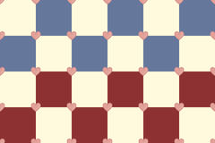Red and blue hearts pattern. Red blue and yellow hearts seamless vector pattern Royalty Free Stock Photography