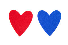 Red and blue hearts Royalty Free Stock Images
