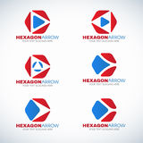 Red blue Hexagon and arrow corner logo vector design Stock Image