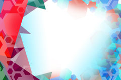 Red and blue hexagon and triangle overlap Royalty Free Stock Photos