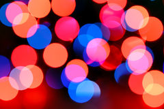 Red and blue holiday bokeh Stock Photo