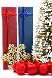 Red and blue holiday box with christmas ornament Royalty Free Stock Photography