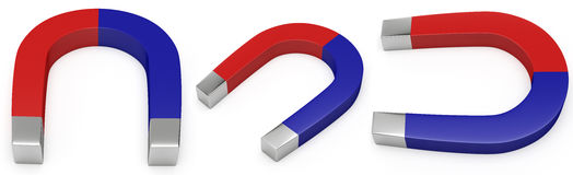 Red and blue horseshoe magnet Royalty Free Stock Photo