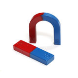 Red and Blue Horseshoe Magnet Isolated on White Background Stock Photos