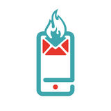 Red and blue hot mail on smartphone vector icon. Royalty Free Stock Image