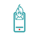 Red and blue hot mail on smartphone vector icon. Stock Photography