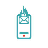 Red and blue hot mail on smartphone vector icon. Stock Photo