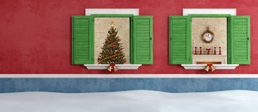 Red and blue house with christmas decoration Royalty Free Stock Images
