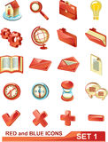 Red and blue icons set 1 Stock Images