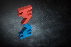 Red and Blue Indian Currency Symbol With Mirror Reflection on Dark Dusty Background royalty free stock images
