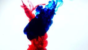 Red and blue ink in water.Creative slow motion. On a white background. Abstract background. Royalty Free Stock Photos