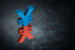 Red and Blue Japanese of Chinese Currency Symbol or Sign With Mirror Reflection on Dark Dusty Background royalty free stock image