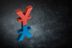 Red and Blue Japanese of Chinese Currency Symbol or Sign With Mirror Reflection on Dark Dusty Background royalty free stock photo