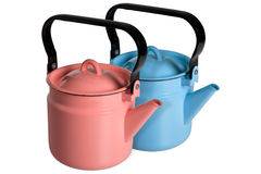 Red and blue kettle. Isolated on white background Royalty Free Stock Photos
