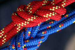 Red and Blue Knots. Two figure eight follow through knots in a climbing rope stock photos