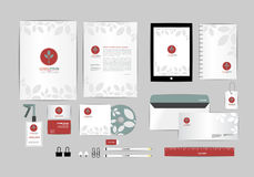Red and blue with leaves corporate identity template for your business includes CD Cover, Business Card, folder, ruler, Envelope a Royalty Free Stock Photo