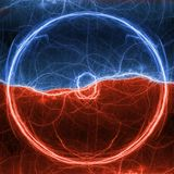 Red and blue lightning ball. Abstract electrical plasma background Stock Images