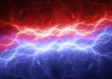 Red and blue lightning. Modern power electrical background stock illustration