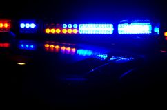 Night Patrol. The red and blue lights of a police car in Anaheim,CA Royalty Free Stock Images