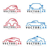 Red and blue Line car logo sign vector set design Stock Photo